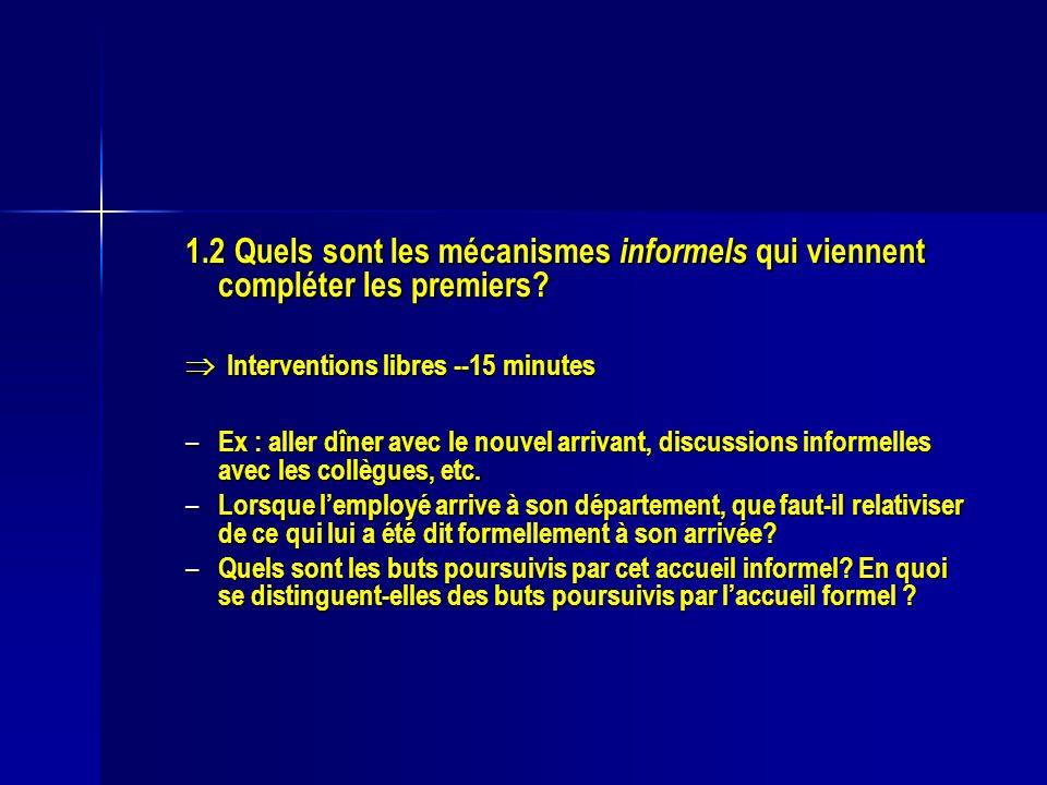 1.2 Quels sont les mécanismes informels qui viennent compléter les premiers? Interventions libres --15 minutes Interventions libres --15 minutes – Ex