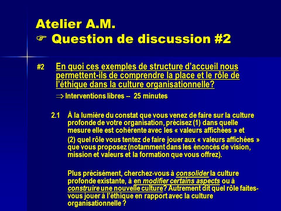 Atelier A.M. Question de discussion #2 #2 En quoi ces exemples de structure daccueil nous permettent-ils de comprendre la place et le rôle de léthique