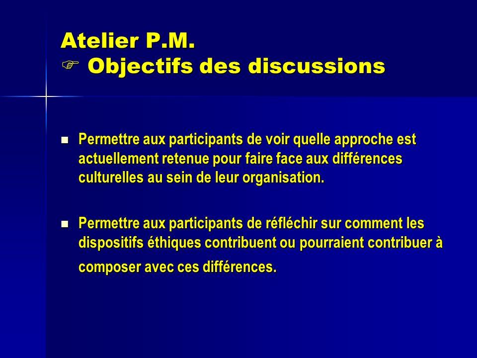 Atelier P.M. Objectifs des discussions Permettre aux participants de voir quelle approche est actuellement retenue pour faire face aux différences cul
