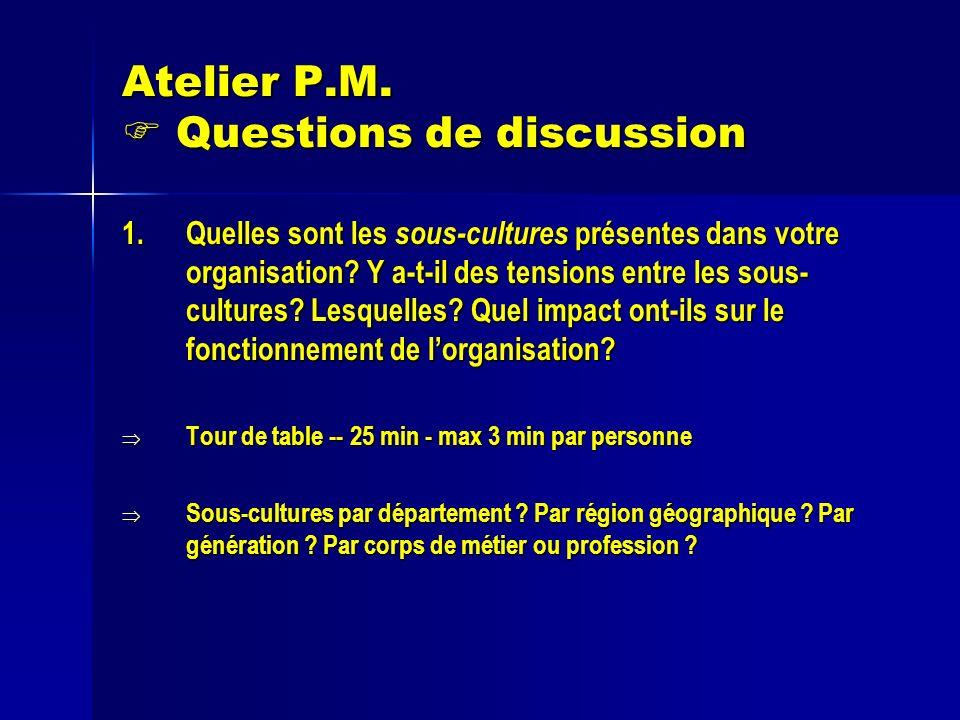 Atelier P.M. Questions de discussion 1.Quelles sont les sous-cultures présentes dans votre organisation? Y a-t-il des tensions entre les sous- culture