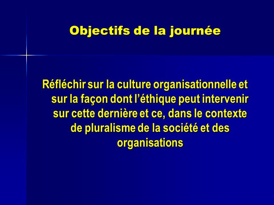 Objectifs de la journée Réfléchir sur la culture organisationnelle et sur la façon dont léthique peut intervenir sur cette dernière et ce, dans le contexte de pluralisme de la société et des organisations