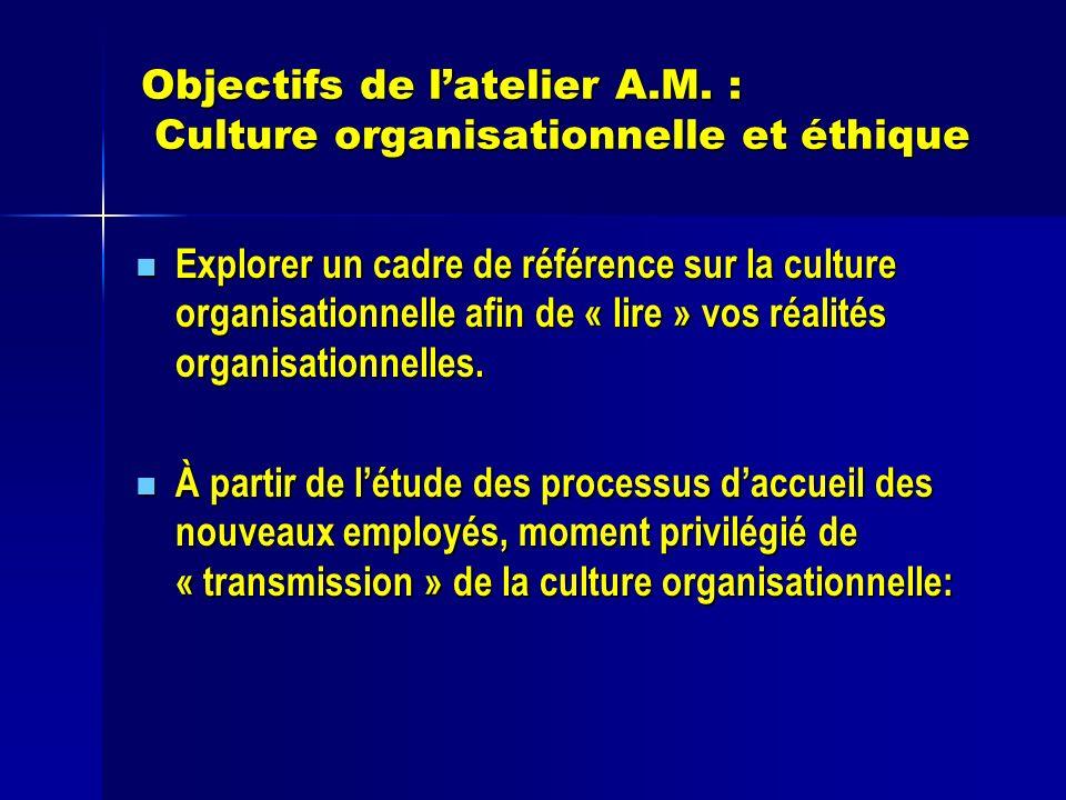 Objectifs de latelier A.M. : Culture organisationnelle et éthique Explorer un cadre de référence sur la culture organisationnelle afin de « lire » vos