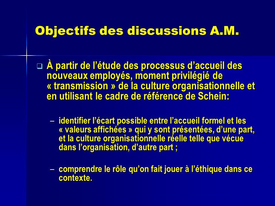 Objectifs des discussions A.M. À partir de létude des processus daccueil des nouveaux employés, moment privilégié de « transmission » de la culture or
