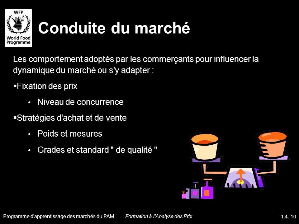 Conduite du marché Les comportement adoptés par les commerçants pour influencer la dynamique du marché ou s'y adapter : Fixation des prix Niveau de co