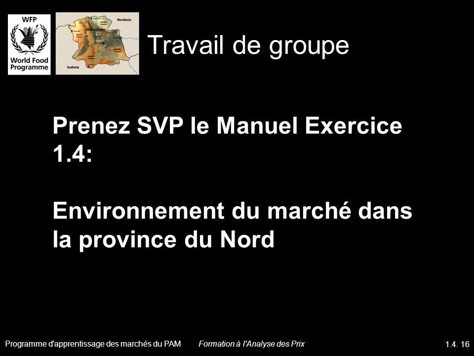 Prenez SVP le Manuel Exercice 1.4: Environnement du marché dans la province du Nord Travail de groupe Programme d'apprentissage des marchés du PAM 1.4
