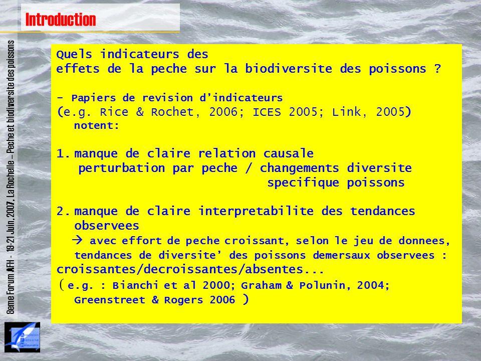 Quels indicateurs des effets de la peche sur la biodiversite des poissons ? - Papiers de revision dindicateurs (e.g. Rice & Rochet, 2006; ICES 2005; L