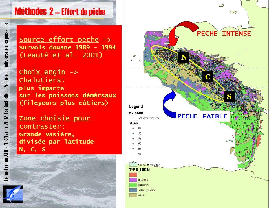 N C S 8eme Forum AFH - 19-21 Juin, 2007, La Rochelle – Peche et biodiversite des poissons Méthodes 2 – Effort de pêche Source effort peche -> Survols