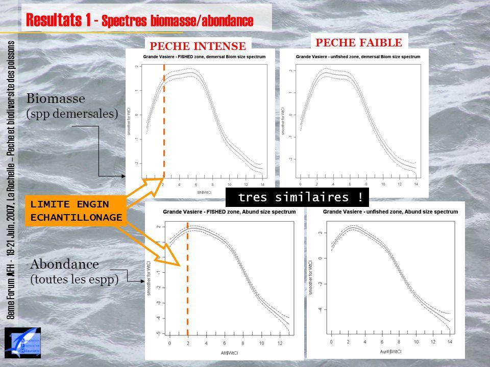 8eme Forum AFH - 19-21 Juin, 2007, La Rochelle – Peche et biodiversite des poissons Resultats 1 - Spectres biomasse/abondance Biomasse (spp demersales