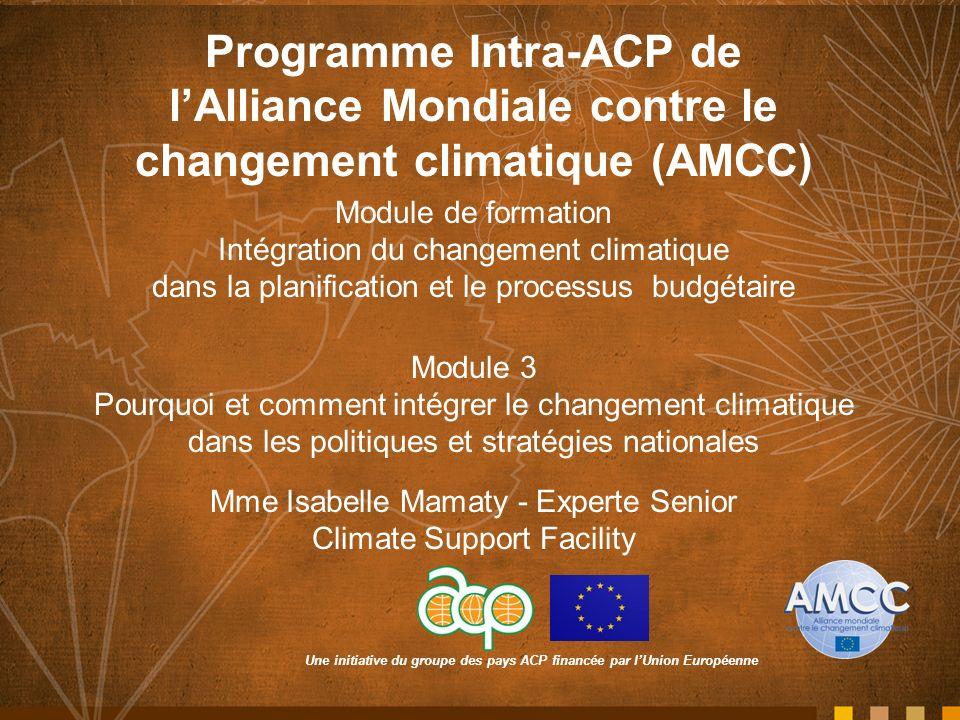 Une initiative du groupe des pays ACP financée par lUnion Européenne Programme Intra-ACP de lAlliance Mondiale contre le changement climatique (AMCC) Module de formation Intégration du changement climatique dans la planification et le processus budgétaire Module 3 Pourquoi et comment intégrer le changement climatique dans les politiques et stratégies nationales Mme Isabelle Mamaty - Experte Senior Climate Support Facility