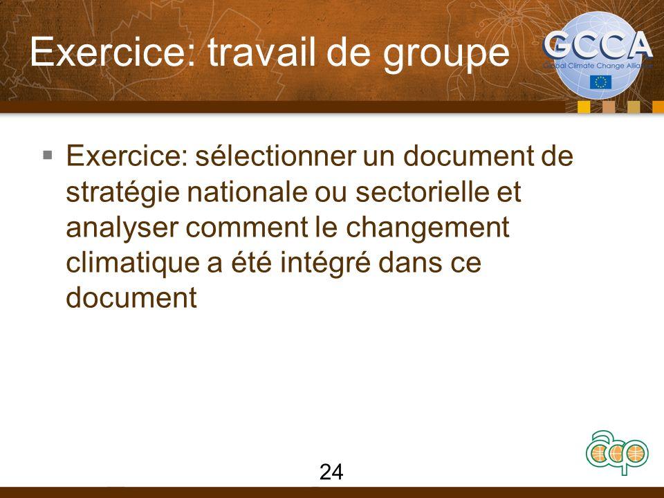 Exercice: travail de groupe Exercice: sélectionner un document de stratégie nationale ou sectorielle et analyser comment le changement climatique a été intégré dans ce document 24