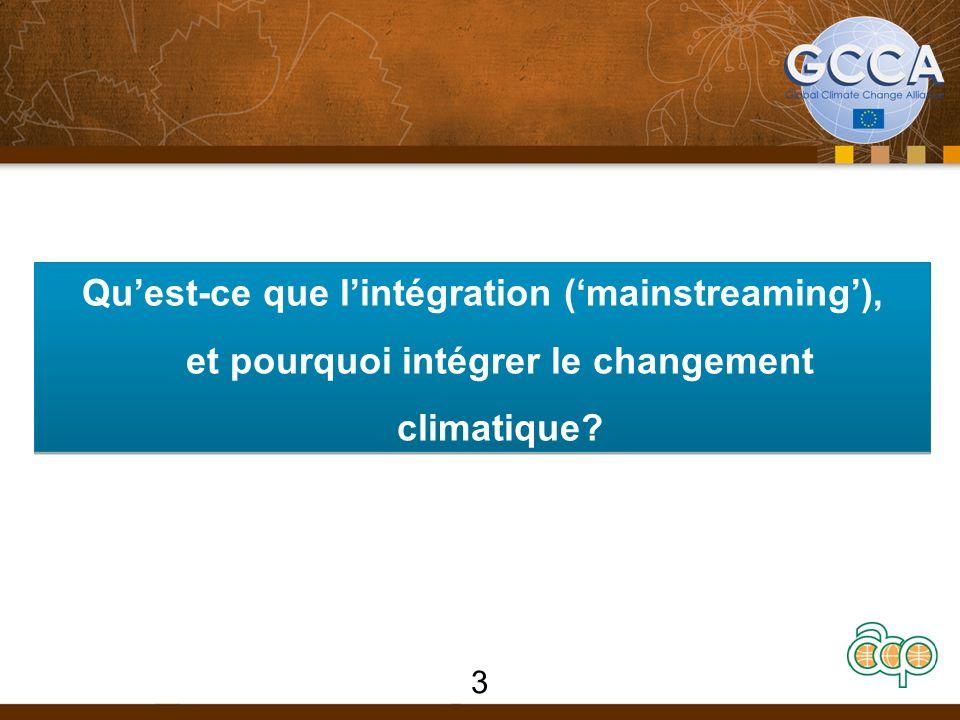 Quest-ce que lintégration (mainstreaming), et pourquoi intégrer le changement climatique? 3