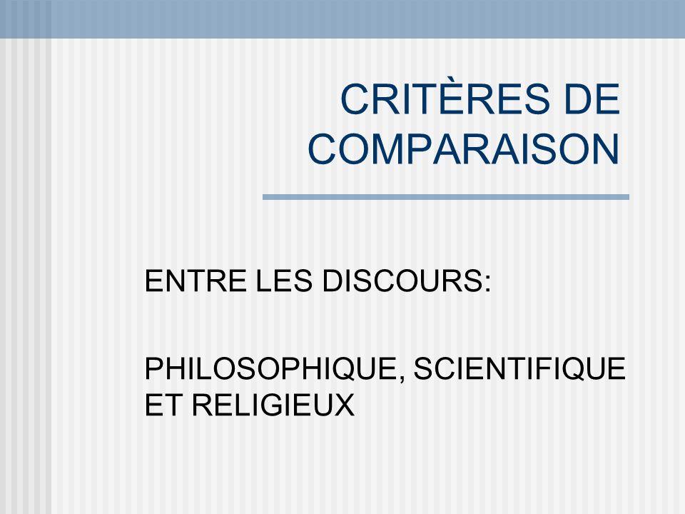 CRITÈRES DE COMPARAISON ENTRE LES DISCOURS: PHILOSOPHIQUE, SCIENTIFIQUE ET RELIGIEUX