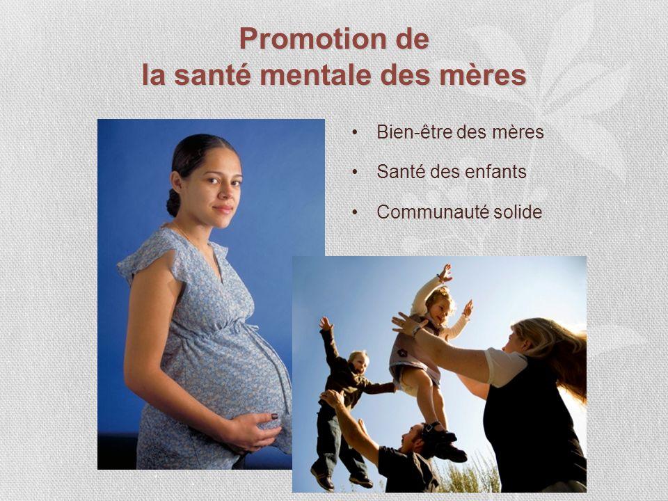 Promotion de la santé mentale des mères Bien-être des mères Santé des enfants Communauté solide