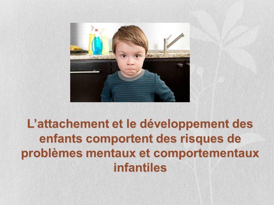 Lattachement et le développement des enfants comportent des risques de problèmes mentaux et comportementaux infantiles