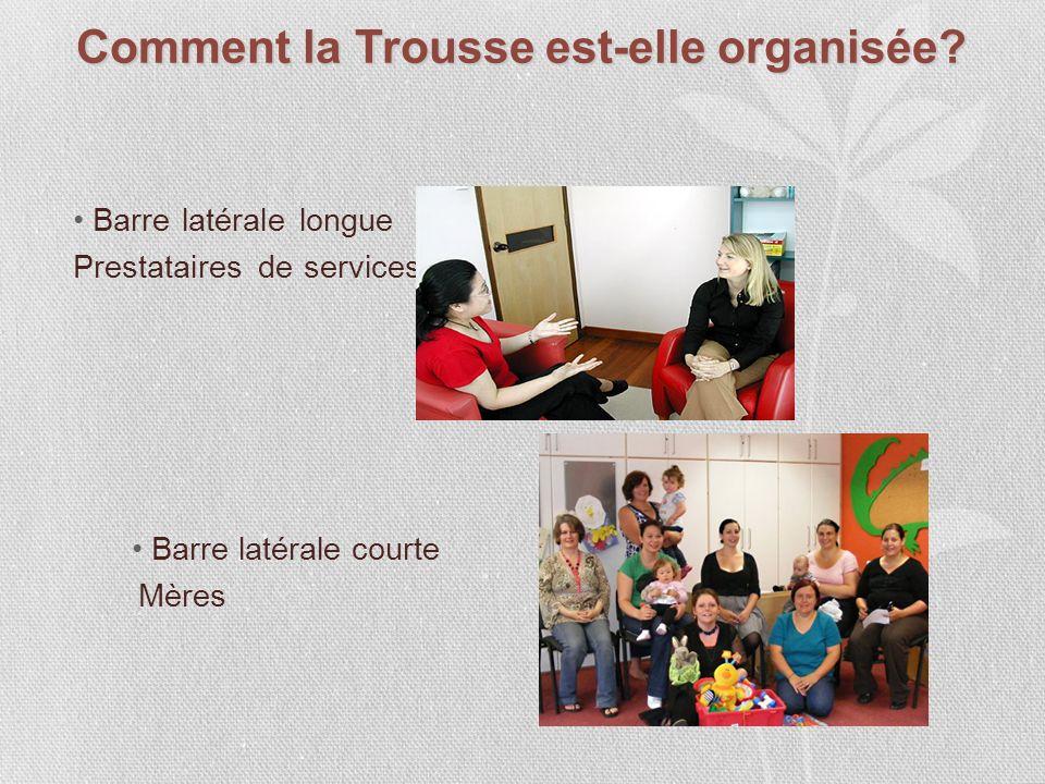 Barre latérale longue Prestataires de services Barre latérale courte Mères Comment la Trousse est-elle organisée?