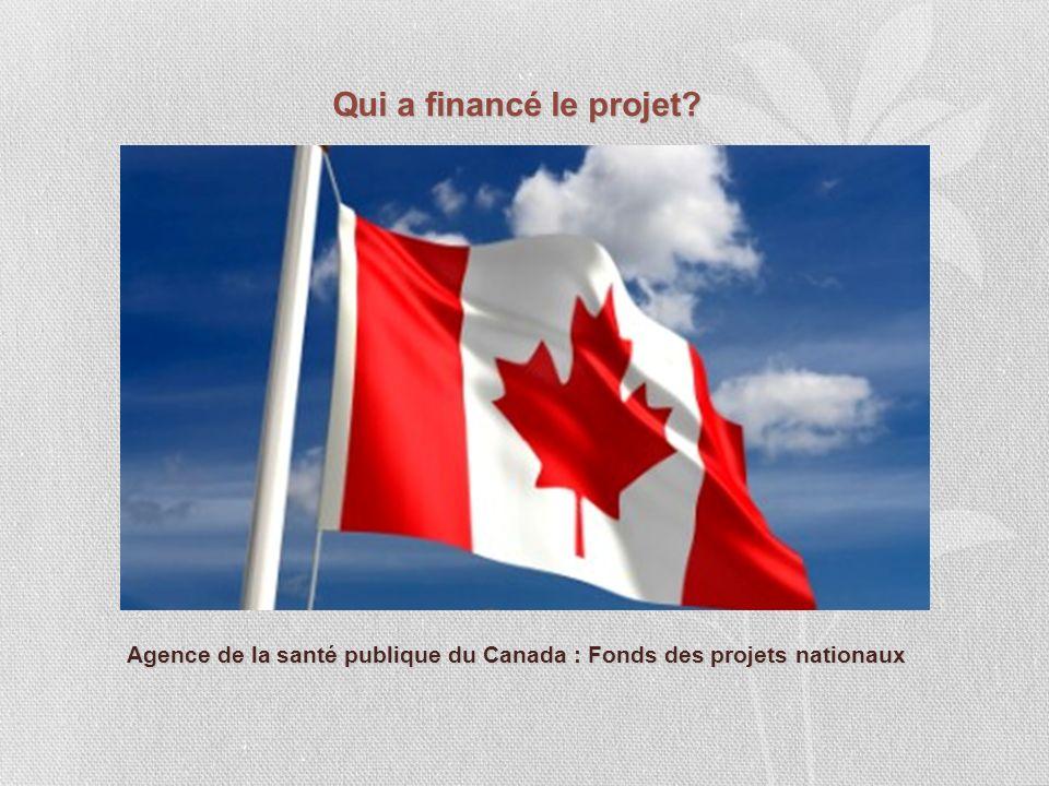 Qui a financé le projet? Agence de la santé publique du Canada : Fonds des projets nationaux