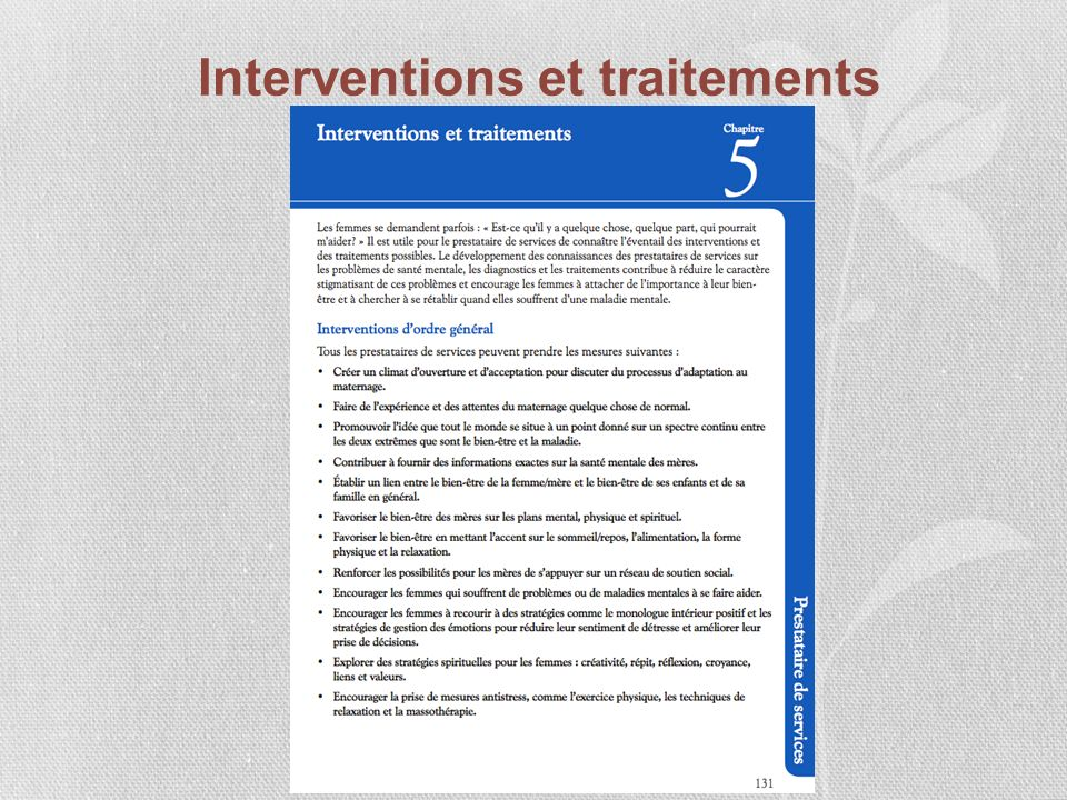Interventions et traitements