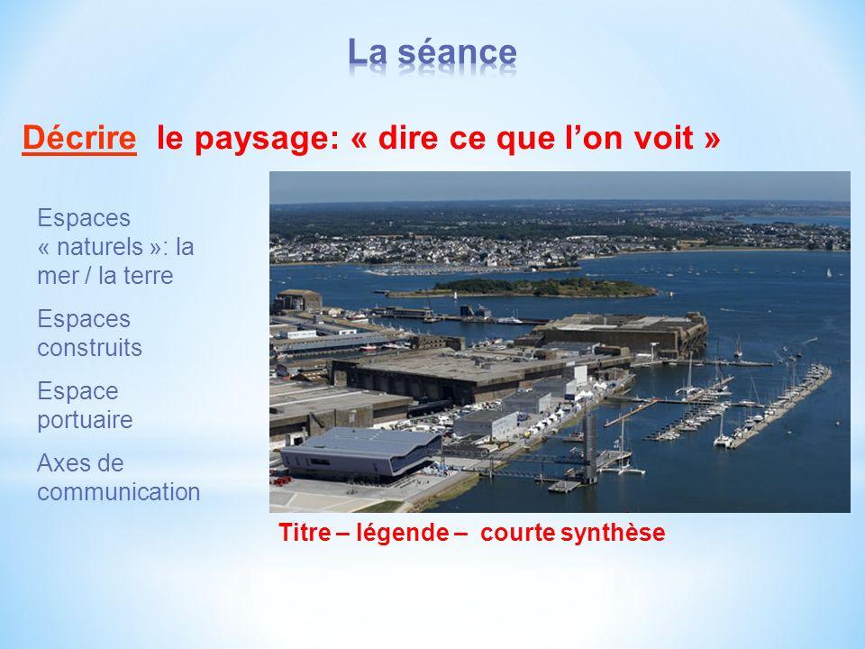 Décrire le paysage: « dire ce que lon voit » Espaces « naturels »: la mer / la terre Espaces construits Espace portuaire Axes de communication Titre – légende – courte synthèse
