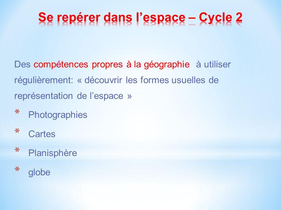 Des compétences propres à la géographie à utiliser régulièrement: « découvrir les formes usuelles de représentation de lespace » * Photographies * Cartes * Planisphère * globe