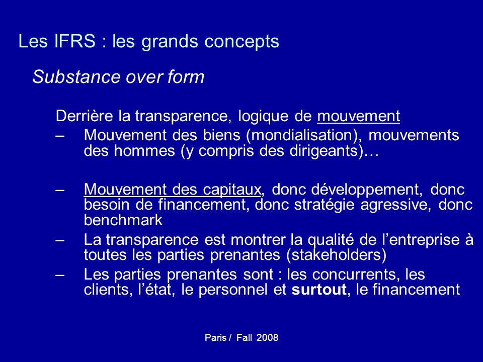 Paris / Fall 2008 Les IFRS : les grands concepts Substance over form Derrière la transparence, logique de mouvement –Mouvement des biens (mondialisation), mouvements des hommes (y compris des dirigeants)… –Mouvement des capitaux, donc développement, donc besoin de financement, donc stratégie agressive, donc benchmark –La transparence est montrer la qualité de lentreprise à toutes les parties prenantes (stakeholders) –Les parties prenantes sont : les concurrents, les clients, létat, le personnel et surtout, le financement