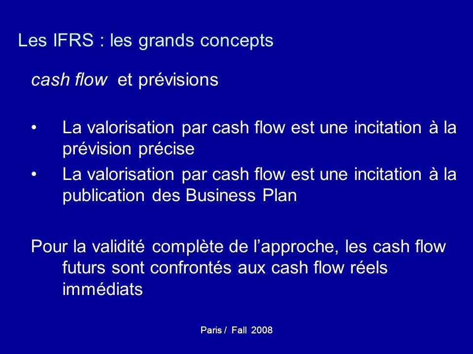 Paris / Fall 2008 Les IFRS : les grands concepts cash flow et prévisions La valorisation par cash flow est une incitation à la prévision précise La valorisation par cash flow est une incitation à la publication des Business Plan Pour la validité complète de lapproche, les cash flow futurs sont confrontés aux cash flow réels immédiats