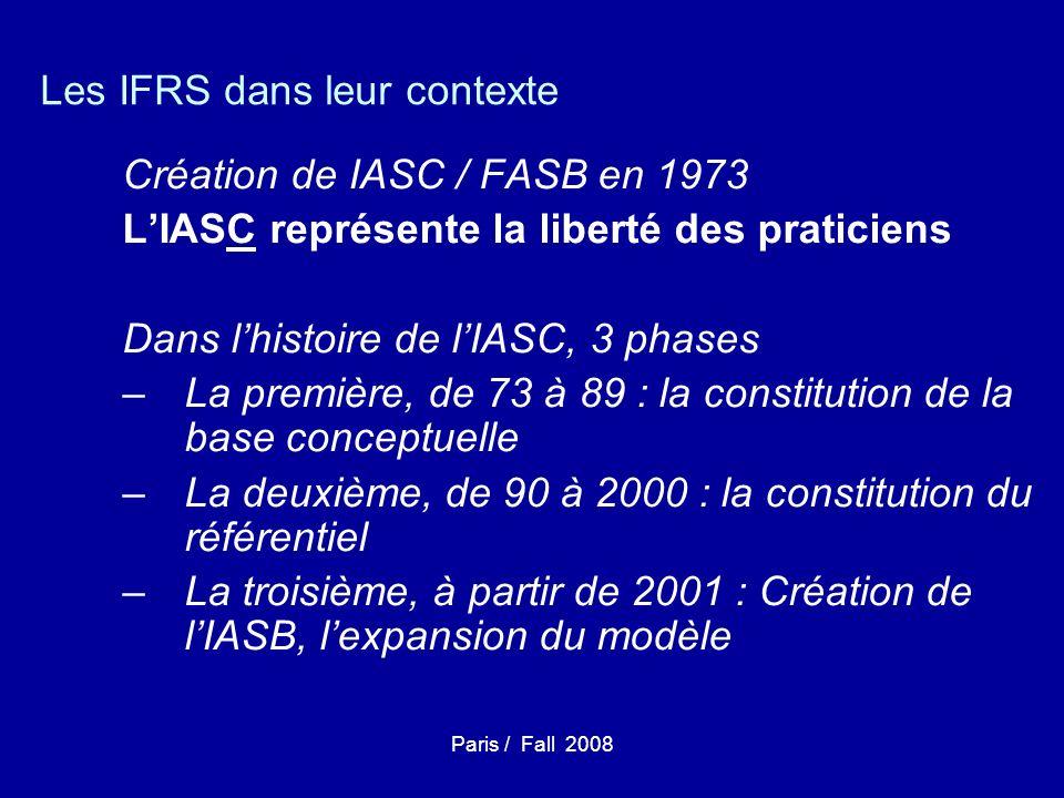Paris / Fall 2008 Les IFRS dans leur contexte Création de IASC / FASB en 1973 LIASC représente la liberté des praticiens Dans lhistoire de lIASC, 3 phases –La première, de 73 à 89 : la constitution de la base conceptuelle –La deuxième, de 90 à 2000 : la constitution du référentiel –La troisième, à partir de 2001 : Création de lIASB, lexpansion du modèle