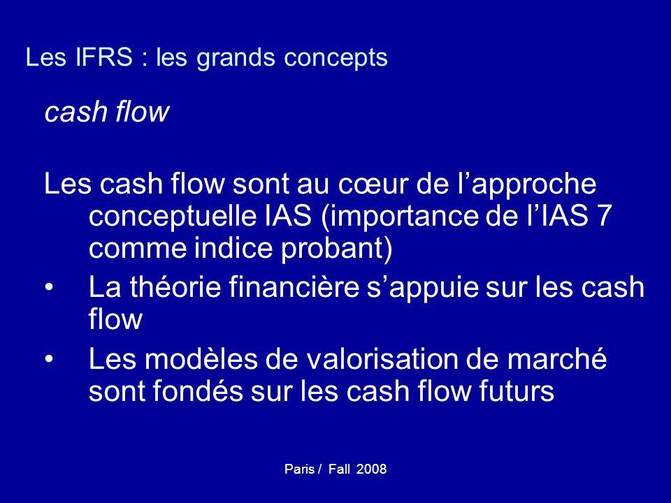 Paris / Fall 2008 Les IFRS : les grands concepts cash flow Les cash flow sont au cœur de lapproche conceptuelle IAS (importance de lIAS 7 comme indice probant) La théorie financière sappuie sur les cash flow Les modèles de valorisation de marché sont fondés sur les cash flow futurs