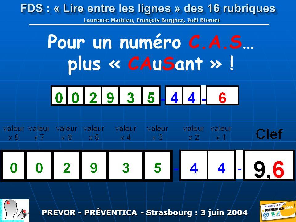 PREVOR - PRÉVENTICA - Strasbourg : 3 juin 2004 FDS : « Lire entre les lignes » des 16 rubriques Laurence Mathieu, François Burgher, Joël Blomet Pour un numéro C.A.S… plus « CAuSant » !