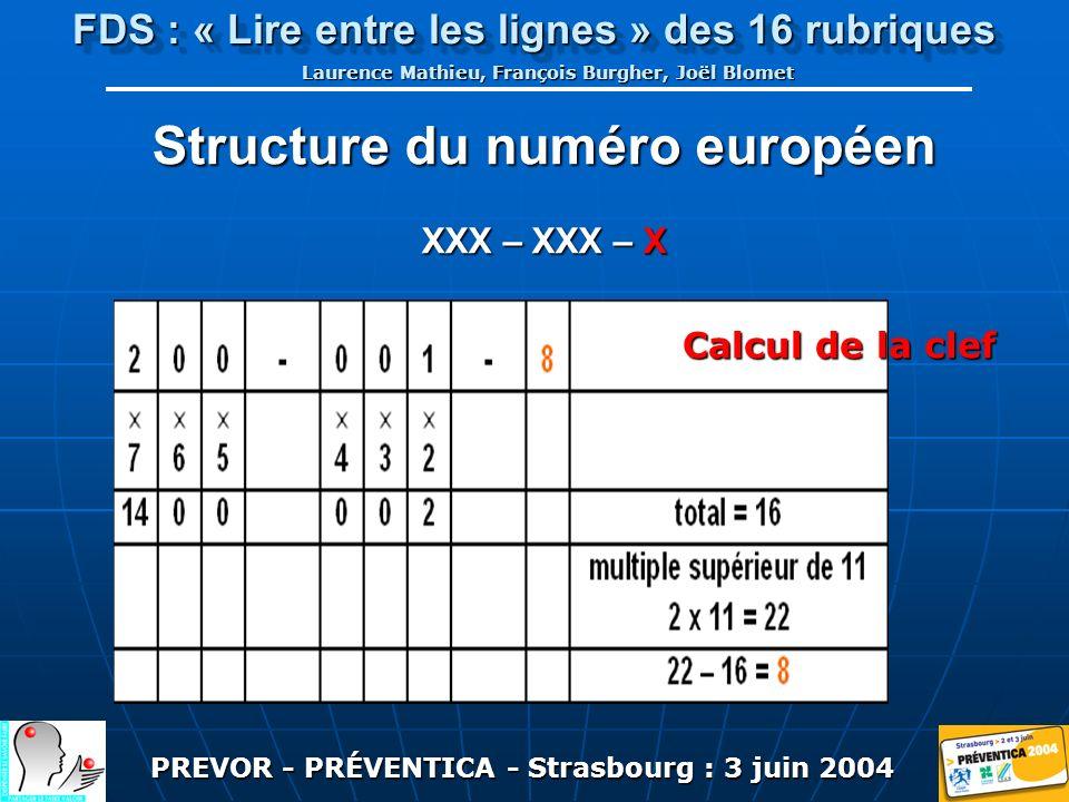 PREVOR - PRÉVENTICA - Strasbourg : 3 juin 2004 FDS : « Lire entre les lignes » des 16 rubriques Laurence Mathieu, François Burgher, Joël Blomet Structure du numéro européen XXX – XXX – X Calcul de la clef