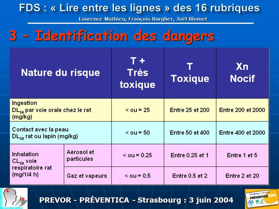 PREVOR - PRÉVENTICA - Strasbourg : 3 juin 2004 FDS : « Lire entre les lignes » des 16 rubriques Laurence Mathieu, François Burgher, Joël Blomet 3 – Identification des dangers