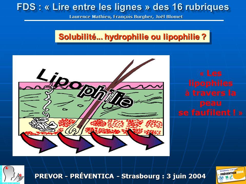 PREVOR - PRÉVENTICA - Strasbourg : 3 juin 2004 FDS : « Lire entre les lignes » des 16 rubriques Laurence Mathieu, François Burgher, Joël Blomet Solubilité...