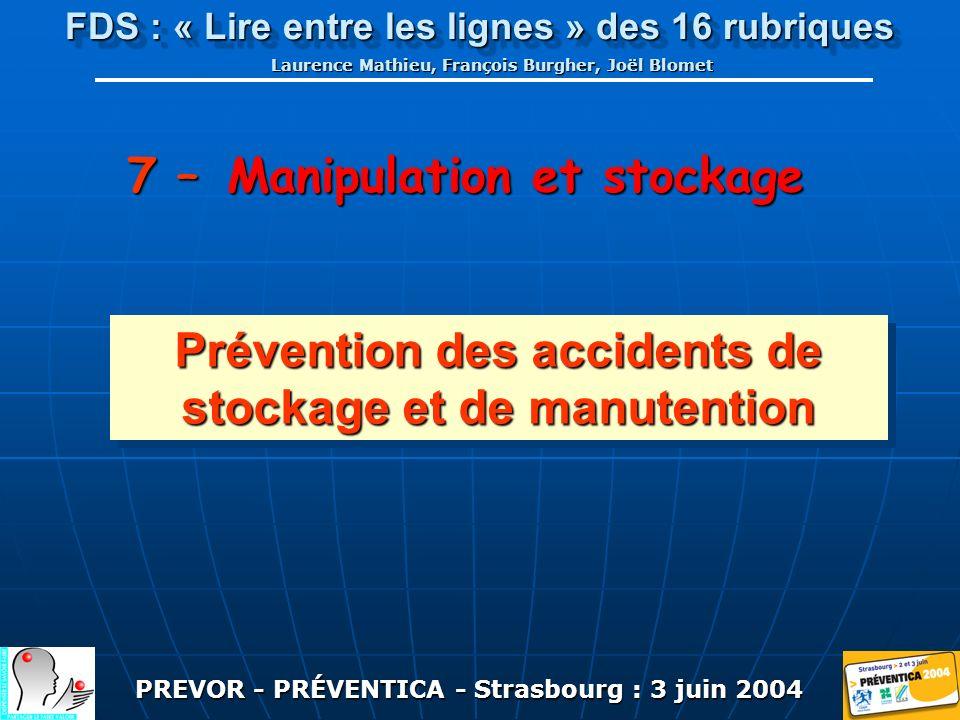 PREVOR - PRÉVENTICA - Strasbourg : 3 juin 2004 FDS : « Lire entre les lignes » des 16 rubriques Laurence Mathieu, François Burgher, Joël Blomet 7 – Manipulation et stockage Prévention des accidents de stockage et de manutention