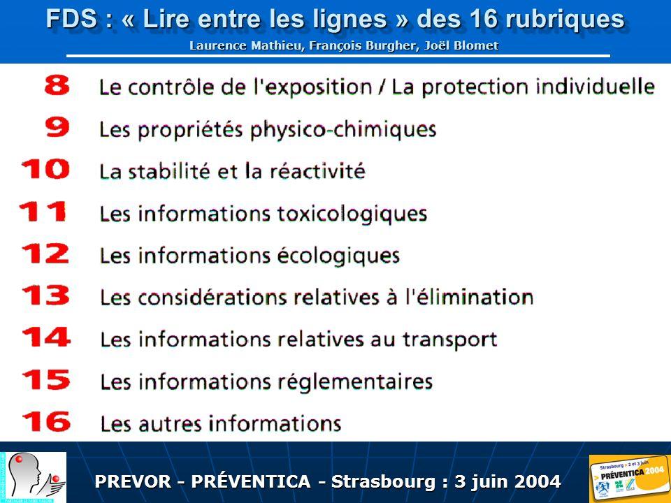 PREVOR - PRÉVENTICA - Strasbourg : 3 juin 2004 FDS : « Lire entre les lignes » des 16 rubriques Laurence Mathieu, François Burgher, Joël Blomet