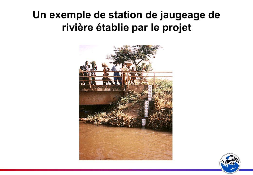 Un exemple de station de jaugeage de rivière établie par le projet