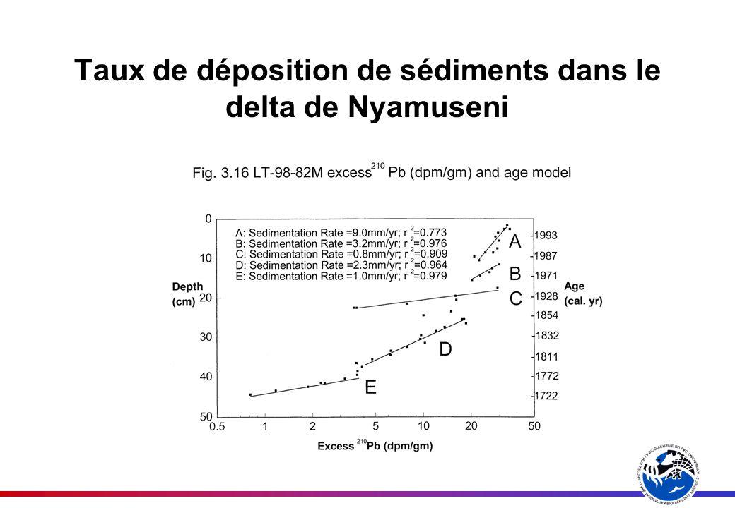 Taux de déposition de sédiments dans le delta de Nyamuseni