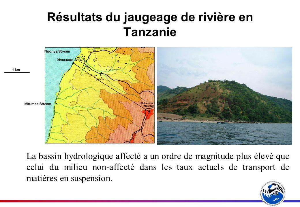 Résultats du jaugeage de rivière en Tanzanie La bassin hydrologique affecté a un ordre de magnitude plus élevé que celui du milieu non-affecté dans le