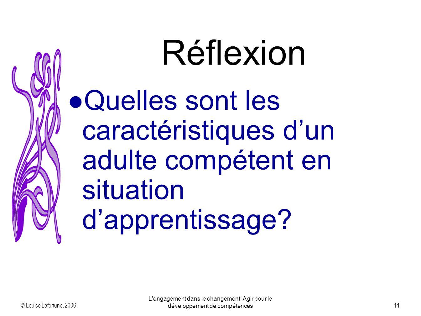 © Louise Lafortune, 2006 L engagement dans le changement: Agir pour le développement de compétences11 Quelles sont les caractéristiques dun adulte compétent en situation dapprentissage.