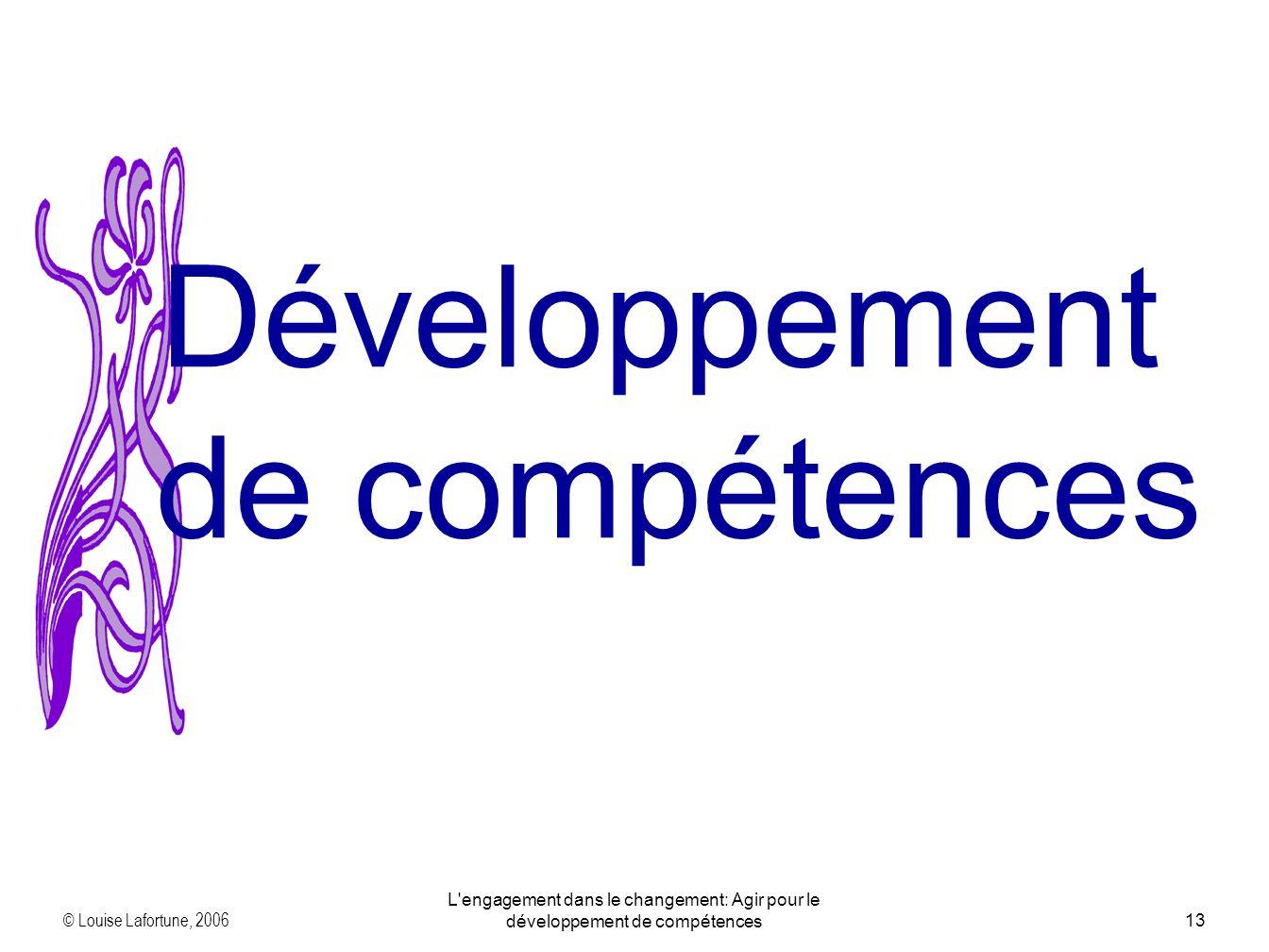 © Louise Lafortune, 2006 L'engagement dans le changement: Agir pour le développement de compétences13 Développement de compétences
