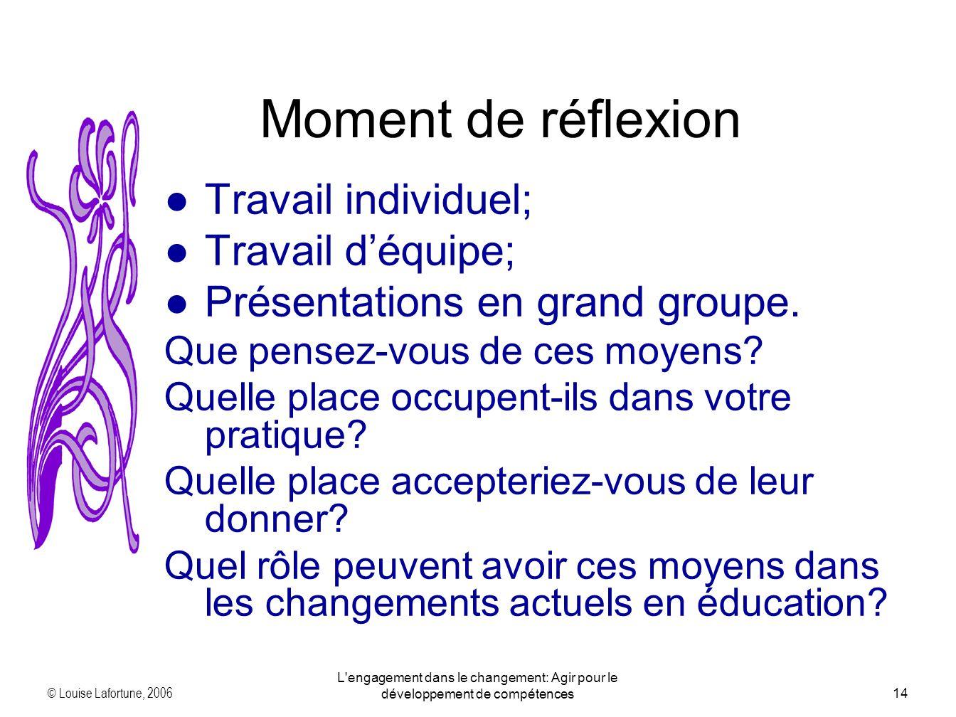 © Louise Lafortune, 2006 L'engagement dans le changement: Agir pour le développement de compétences14 Travail individuel; Travail déquipe; Présentatio