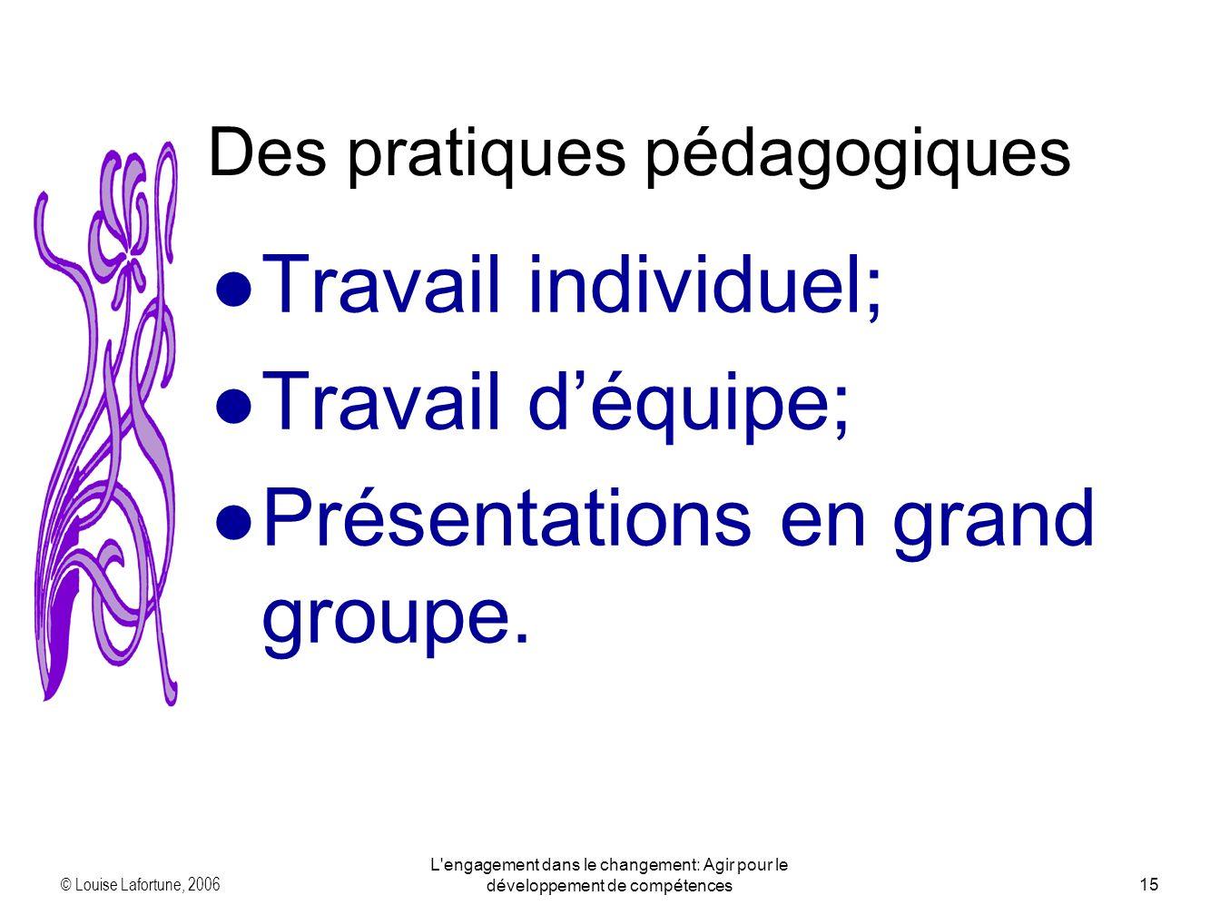 © Louise Lafortune, 2006 L'engagement dans le changement: Agir pour le développement de compétences15 Travail individuel; Travail déquipe; Présentatio