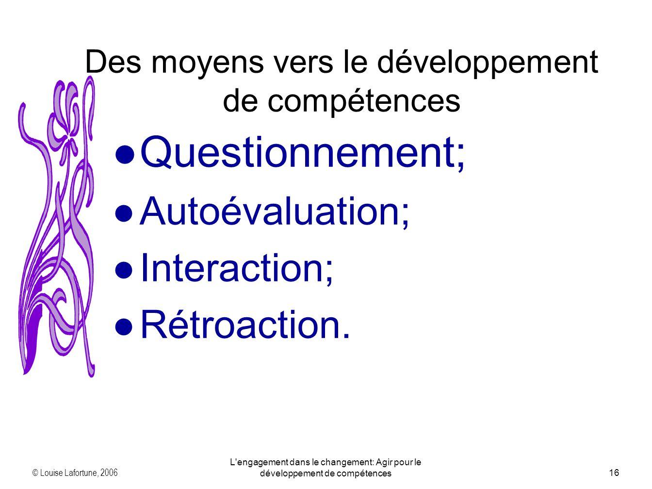 © Louise Lafortune, 2006 L engagement dans le changement: Agir pour le développement de compétences16 Questionnement; Autoévaluation; Interaction; Rétroaction.