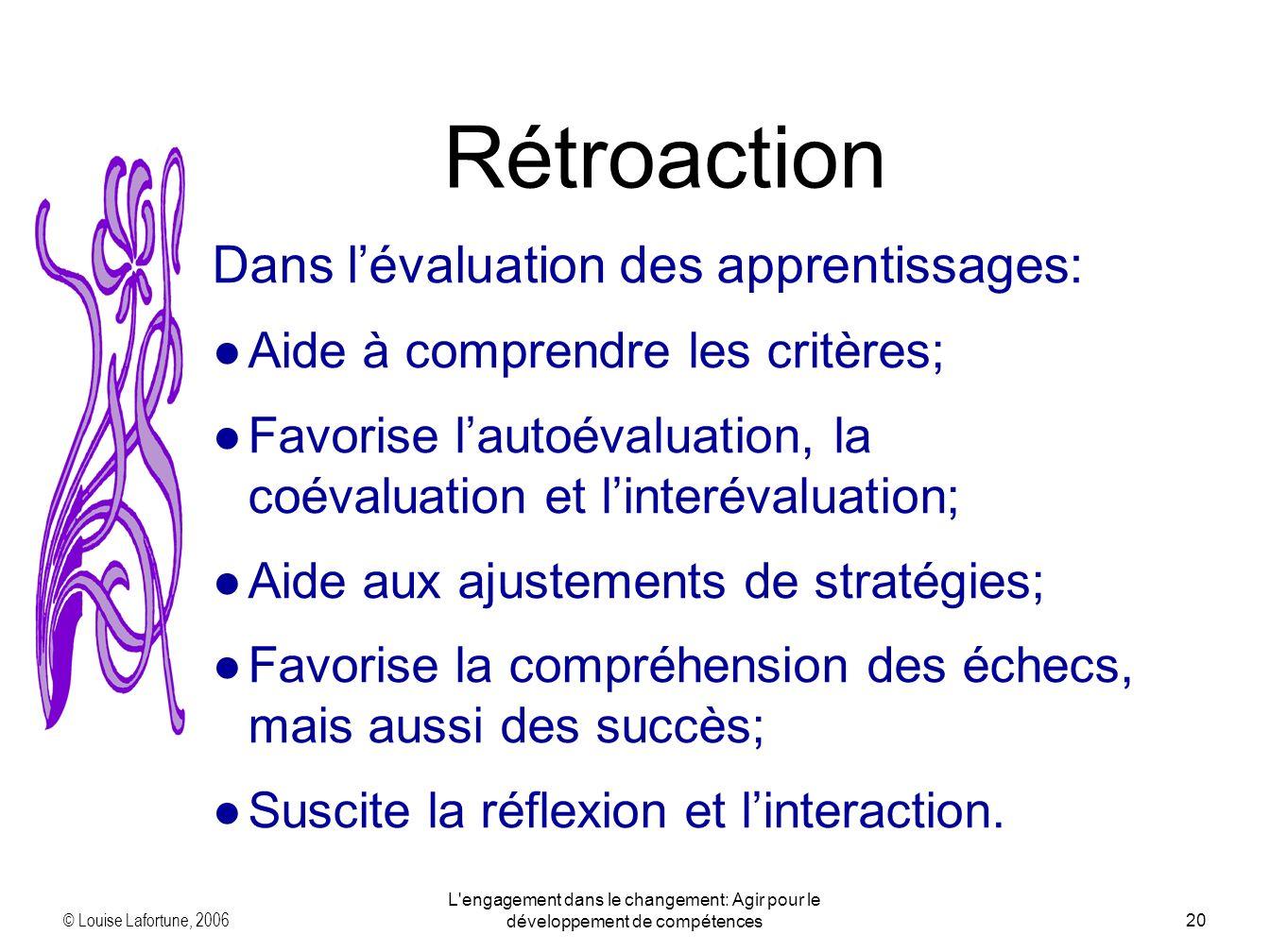 © Louise Lafortune, 2006 L engagement dans le changement: Agir pour le développement de compétences20 Rétroaction Dans lévaluation des apprentissages: Aide à comprendre les critères; Favorise lautoévaluation, la coévaluation et linterévaluation; Aide aux ajustements de stratégies; Favorise la compréhension des échecs, mais aussi des succès; Suscite la réflexion et linteraction.