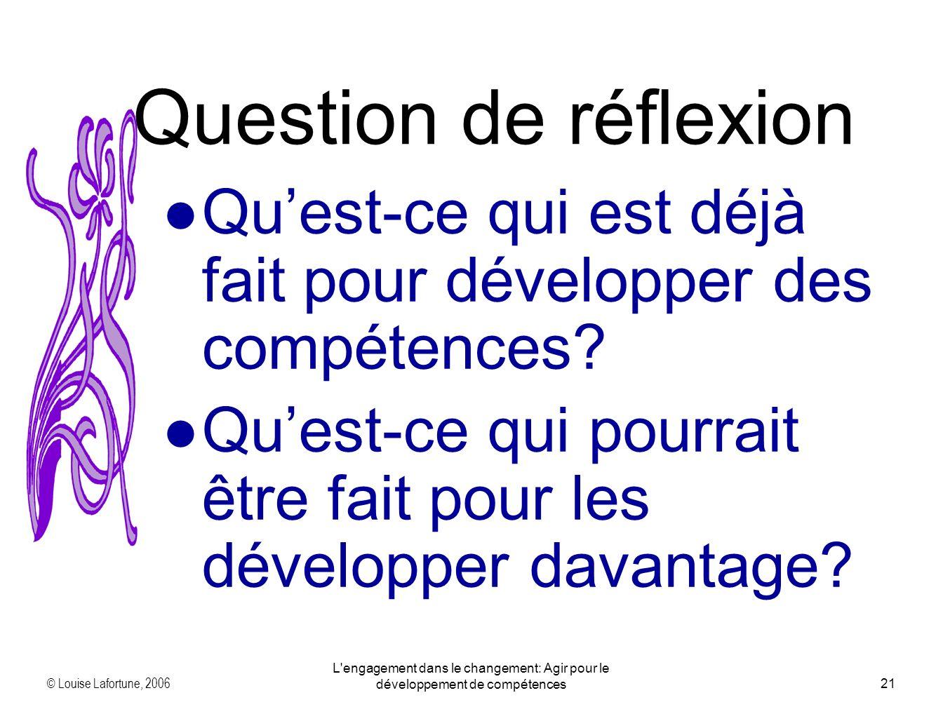 © Louise Lafortune, 2006 L engagement dans le changement: Agir pour le développement de compétences21 Quest-ce qui est déjà fait pour développer des compétences.