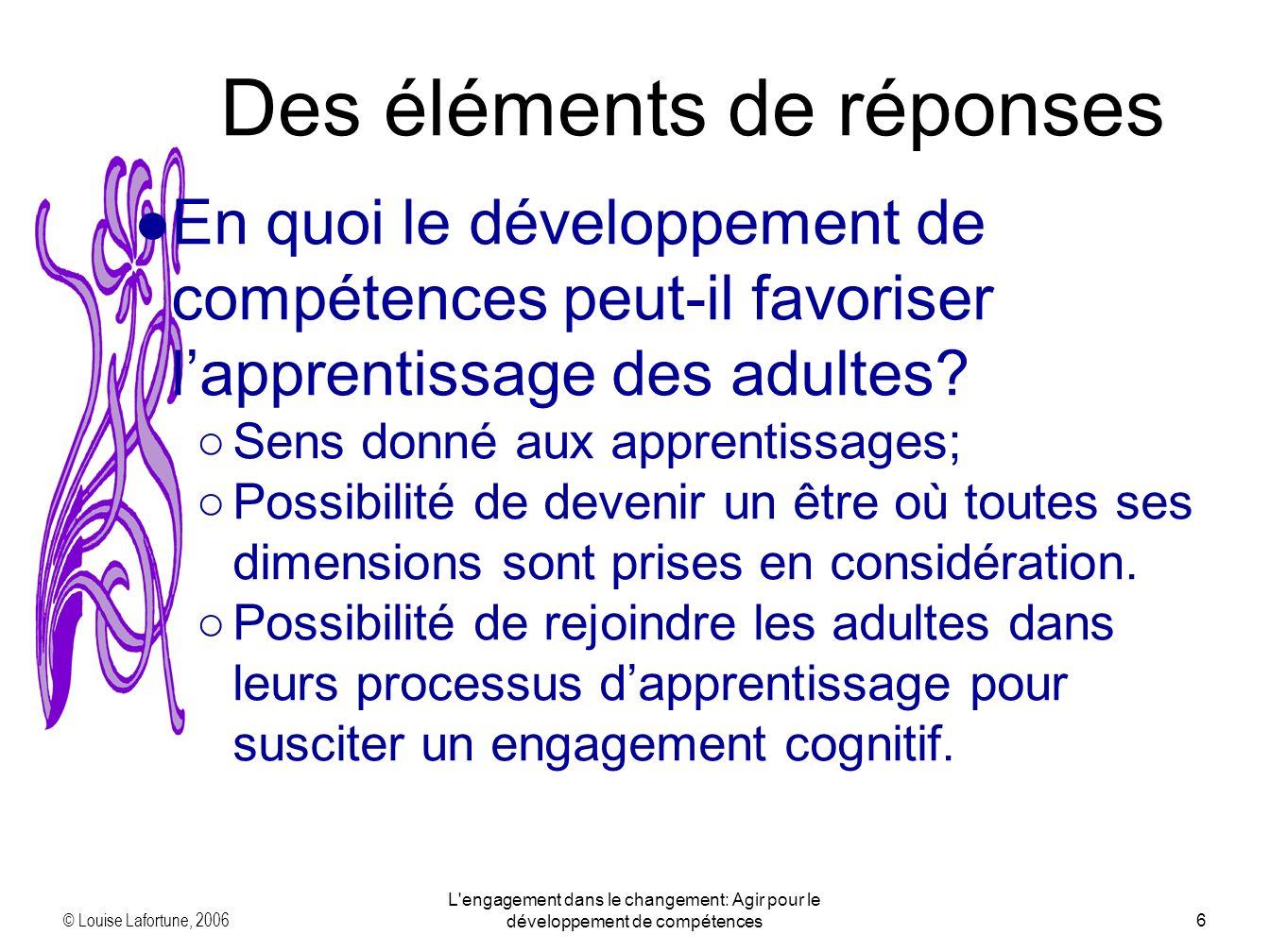 © Louise Lafortune, 2006 L engagement dans le changement: Agir pour le développement de compétences7 Des éléments de réponses Comment favorise-t-on le développement de compétences.