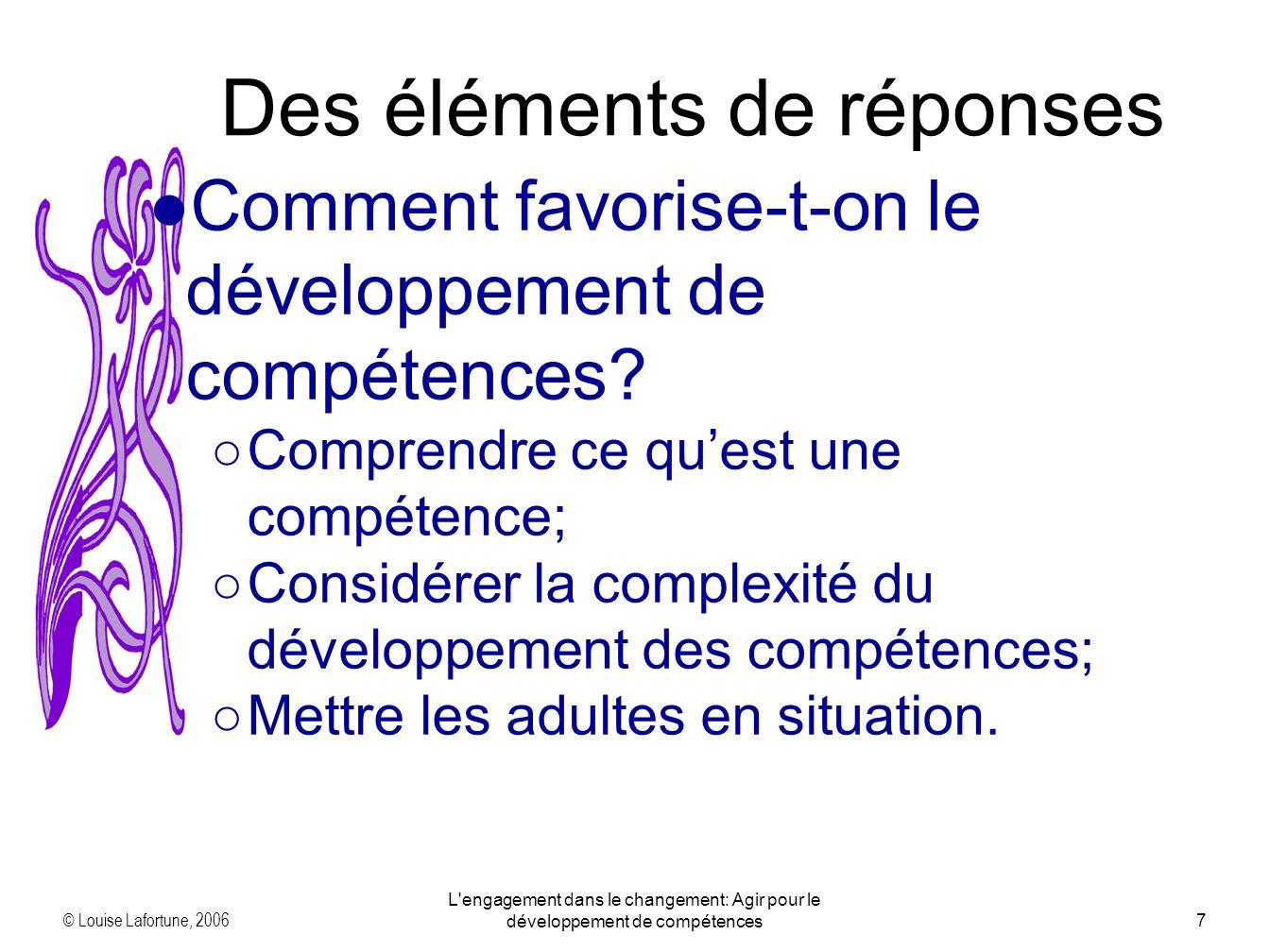© Louise Lafortune, 2006 L'engagement dans le changement: Agir pour le développement de compétences7 Des éléments de réponses Comment favorise-t-on le