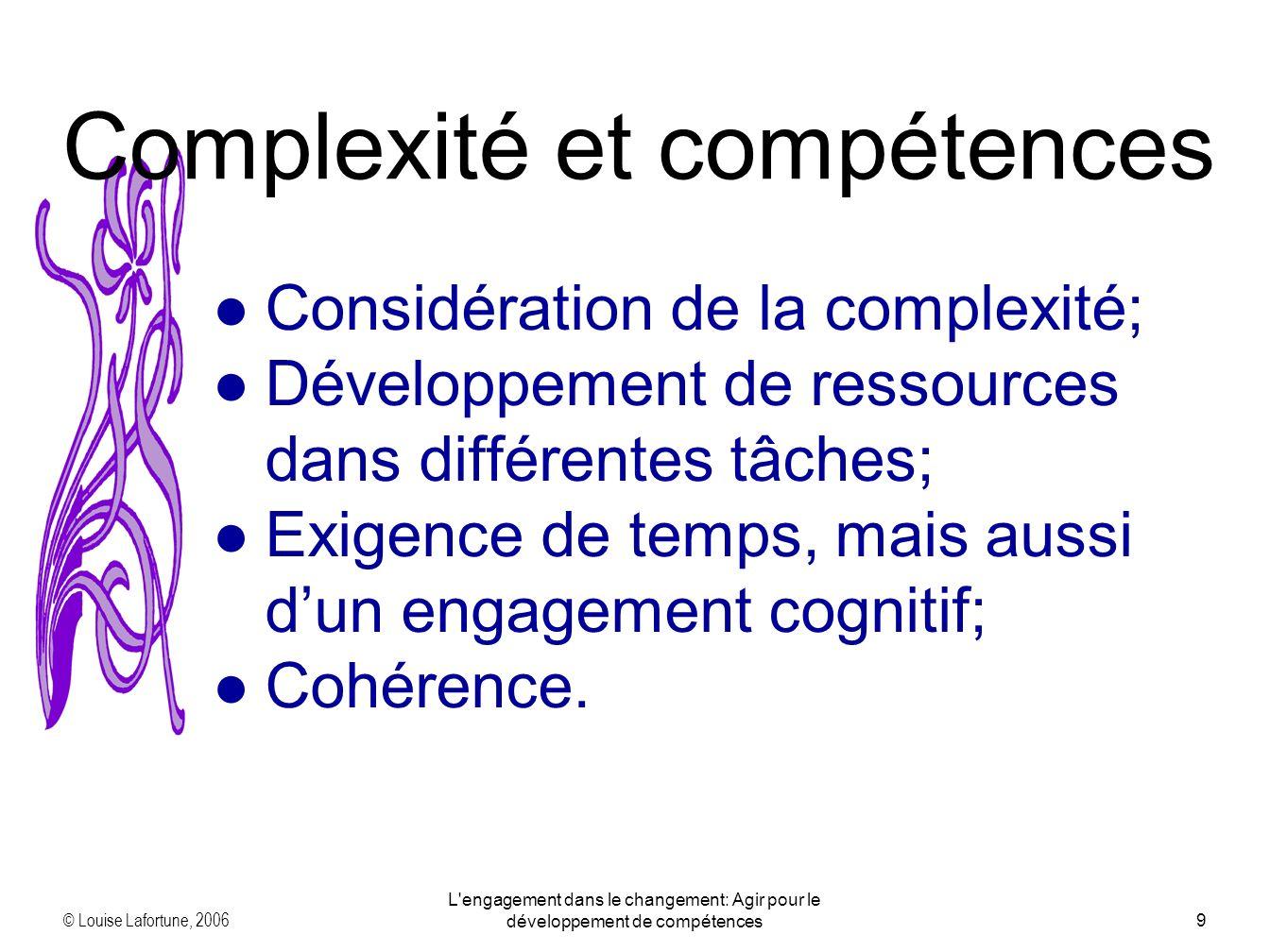 © Louise Lafortune, 2006 L'engagement dans le changement: Agir pour le développement de compétences9 Complexité et compétences Considération de la com