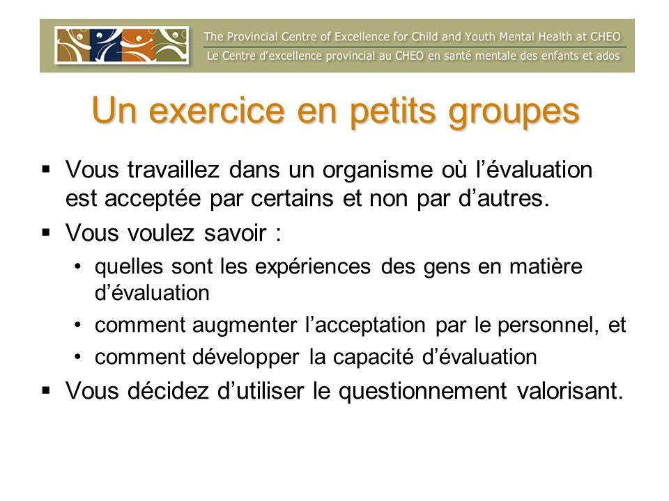 Un exercice en petits groupes Vous travaillez dans un organisme où lévaluation est acceptée par certains et non par dautres. Vous voulez savoir : quel