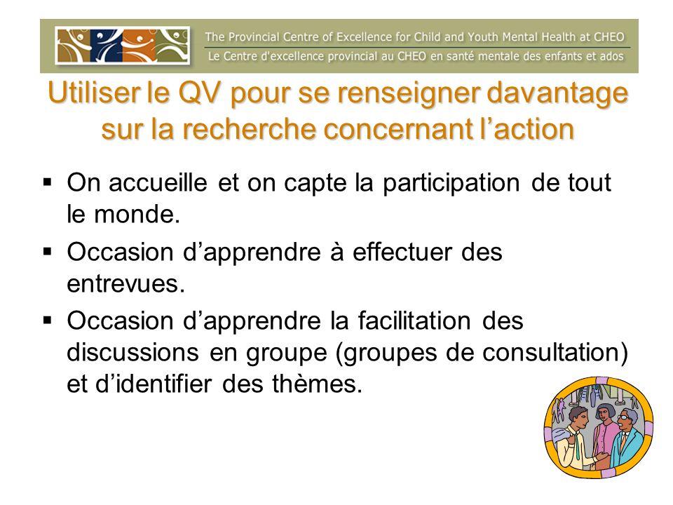 Utiliser le QV pour se renseigner davantage sur la recherche concernant laction On accueille et on capte la participation de tout le monde. Occasion d