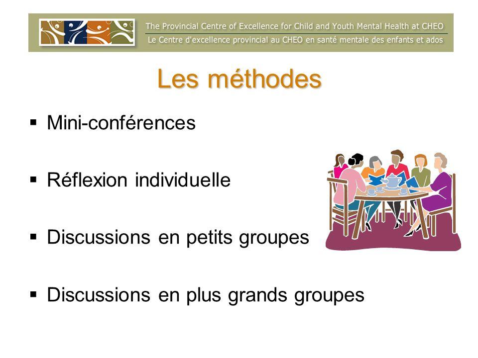 Les méthodes Mini-conférences Réflexion individuelle Discussions en petits groupes Discussions en plus grands groupes