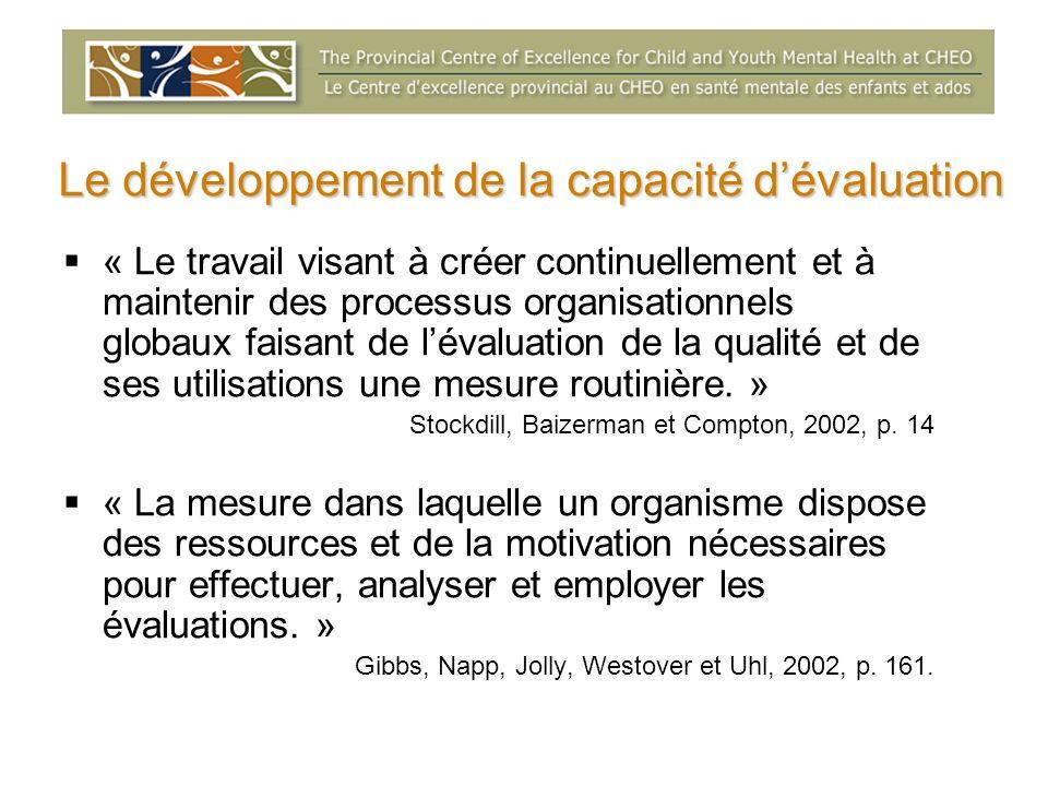 « Le travail visant à créer continuellement et à maintenir des processus organisationnels globaux faisant de lévaluation de la qualité et de ses utili